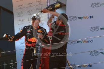 World © Octane Photographic Ltd. Formula 1 – Austrian GP - Podium. Aston Martin Red Bull Racing RB15 – Max Verstappen and Toyoharu Tanube - Honda Performance Development (HPD) Senior Manager. Red Bull Ring, Spielberg, Styria, Austria. Sunday 30th June 2019