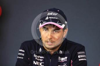 World © Octane Photographic Ltd. Formula 1 – Austrian GP - Paddock. FIA Drivers Press Conference. SportPesa Racing Point RP19 - Sergio Perez. Red Bull Ring, Spielberg, Styria, Austria. Thursday 27th June 2019.