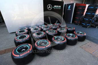World © Octane Photographic Ltd. Formula 1 – Austrian GP - Paddock. Pirelli tyre for Mercedes. Red Bull Ring, Spielberg, Styria, Austria. Thursday 27th June 2019.
