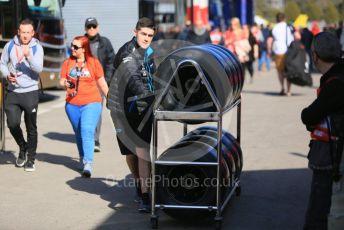 World © Octane Photographic Ltd. Formula 1 – Winter Testing - Test 1 - Day 1. ROKiT Williams Racing mechanic with wheel and tyres. Circuit de Barcelona-Catalunya. Monday 18th February 2019.