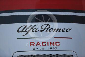 World © Octane Photographic Ltd. Formula 1 – Winter Testing - Test 1 - Day 1. Alfa Romeo Racing logo. Circuit de Barcelona-Catalunya. Monday 18th February 2019.
