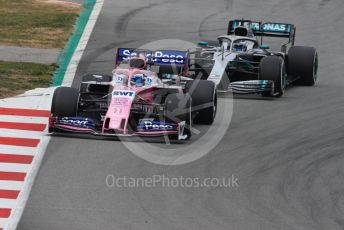 World © Octane Photographic Ltd. Formula 1 – Winter Testing - Test 1 - Day 3. SportPesa Racing Point RP19 - Sergio Perez and Mercedes AMG Petronas Motorsport AMG F1 W10 EQ Power+ - Valtteri Bottas. Circuit de Barcelona-Catalunya. Wednesday 20th February 2019.