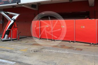World © Octane Photographic Ltd. Formula 1 – Winter Testing - Test 1 - Day 3. Scuderia Ferrari screens in front of garage. Circuit de Barcelona-Catalunya. Wednesday 20th February 2019.