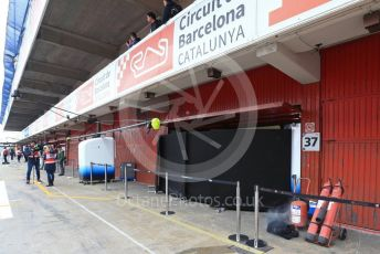 World © Octane Photographic Ltd. Formula 1 – Winter Testing - Test 1 - Day 3. ROKiT Williams Racing garage open with screens in front for the first time during the test with smoke coming from the side. Circuit de Barcelona-Catalunya. Wednesday 20th February 2019.