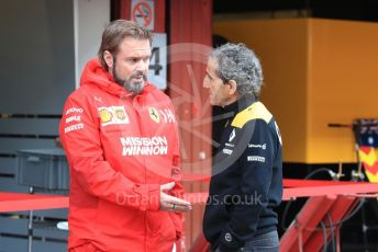 World © Octane Photographic Ltd. Formula 1 - Winter Testing - Test 2 - Day 3. Gino Rosato – Ferrari Corporate Affairs and Alain Prost – Special Advisor to Renault Sport Formula 1 Team. Circuit de Barcelona-Catalunya. Thursday 28th February 2019
