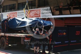 World © Octane Photographic Ltd. Formula 1 – Winter Testing - Test 2 - Day 3. Aston Martin Red Bull Racing RB15 – Pierre Gasly damaged car gets returned to the pit lane. Circuit de Barcelona-Catalunya. Thursday 28th February 2019.