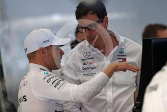 World © Octane Photographic Ltd. Formula 1 – Belgium GP - Practice 3. Mercedes AMG Petronas Motorsport AMG F1 W10 EQ Power+ - Valtteri Bottas and Toto Wolff - Executive Director & Head of Mercedes - Benz Motorsport. Circuit de Spa Francorchamps, Belgium. Saturday 31st August 2019.