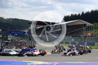 World © Octane Photographic Ltd. Formula 1 – Belgium GP - Race. Aston Martin Red Bull Racing RB15 – Max Verstappen and Alfa Romeo Racing C38 – Kimi Raikkonen. Circuit de Spa Francorchamps, Belgium. Sunday 1st September 2019.