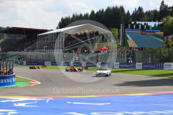 World © Octane Photographic Ltd. Formula 1 – Belgium GP - Race. Scuderia Ferrari SF90 – Charles Leclerc leads under safety car. Circuit de Spa Francorchamps, Belgium. Sunday 1st September 2019.