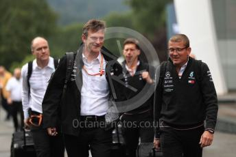 World © Octane Photographic Ltd. Formula 1 - Belgium GP - Paddock. James Allison - Technical Director of Mercedes - AMG Petronas Motorsport and Andy Cowell - Managing Director of Mercedes AMG High Performance Powertrains. Circuit de Spa Francorchamps, Belgium. Sunday 1st September 2019.