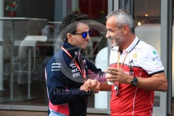 World © Octane Photographic Ltd. Formula 1 – Belgium GP - Paddock. SportPesa Racing Point RP19 - Sergio Perez and Beat Zehnder – Team Manager Alfa Romeo Racing. Circuit de Spa Francorchamps, Belgium. Thursday 28th August 2019.