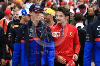 World © Octane Photographic Ltd. Formula 1 – British GP - Drivers Parade. Scuderia Toro Rosso STR14 – Daniil Kvyat and Scuderia Ferrari SF90 – Charles Leclerc. Silverstone Circuit, Towcester, Northamptonshire. Sunday 14th July 2019.