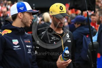World © Octane Photographic Ltd. Formula 1 – British GP - Drivers Parade. Renault Sport F1 Team RS19 – Daniel Ricciardo and Aston Martin Red Bull Racing RB15 – Pierre Gasly. . Silverstone Circuit, Towcester, Northamptonshire. Sunday 14th July 2019.