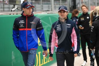 World © Octane Photographic Ltd. Formula 1 – British GP - Drivers Parade. Scuderia Toro Rosso STR14 – Daniil Kvyat and SportPesa Racing Point RP19 - Sergio Perez. Silverstone Circuit, Towcester, Northamptonshire. Sunday 14th July 2019.