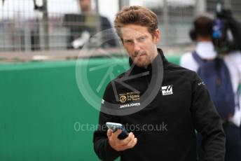 World © Octane Photographic Ltd. Formula 1 – British GP - Drivers Parade. Rich Energy Haas F1 Team VF19 – Romain Grosjean. Silverstone Circuit, Towcester, Northamptonshire. Sunday 14th July 2019.