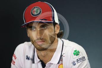 World © Octane Photographic Ltd. Formula 1 – British GP. FIA Drivers Press Conference. Alfa Romeo Racing – Antonio Giovinazzi. Silverstone Circuit, Towcester, Northamptonshire. Thursday 11th July 2019.