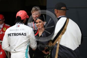 World © Octane Photographic Ltd. Formula 1 – British GP - Qualifying. Mercedes AMG Petronas Motorsport AMG F1 W10 EQ Power+ - Lewis Hamilton and Pirelli Representative, pop star Mabel McVey. Silverstone Circuit, Towcester, Northamptonshire. Saturday 13th July 2019.