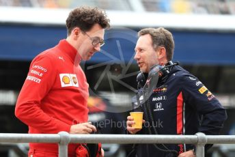 World © Octane Photographic Ltd. Formula 1 - British GP - Practice 3. Christian Horner - Team Principal of Red Bull Racing and Mattia Binotto – Team Principal of Scuderia Ferrari. Silverstone Circuit, Towcester, Northamptonshire. Saturday 13th July 2019.