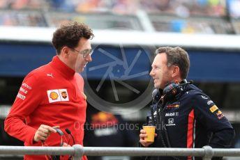 World © Octane Photographic Ltd. Formula 1 - British GP - Practice 3. Christian Horner - Team Principal of Red Bull Racing and Mattia Binotto – Team Principal of Scuderia Ferrari. Silverstone Circuit, Towcester, Northamptonshire. Saturday 13th July 2019.