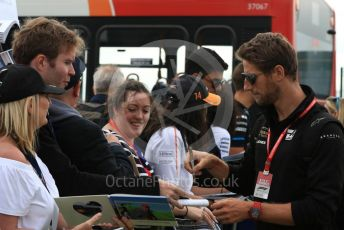 World © Octane Photographic Ltd. Formula 1 – British GP - Paddock. Rich Energy Haas F1 Team VF19 – Romain Grosjean. Silverstone Circuit, Towcester, Northamptonshire. Saturday 13th July 2019.