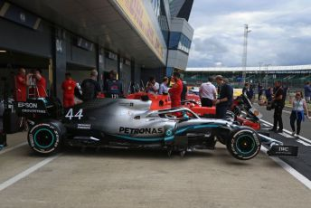 World © Octane Photographic Ltd. Formula 1 – British GP - Pit Lane. Mercedes AMG Petronas Motorsport AMG F1 W10 EQ Power+. Silverstone Circuit, Towcester, Northamptonshire. Thursday 11th July 2019.