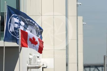 World © Octane Photographic Ltd. Formula 1 – Canadian GP. Practice 1. FIA and Canadian flags. Circuit de Gilles Villeneuve, Montreal, Canada. Friday 7th June 2019.