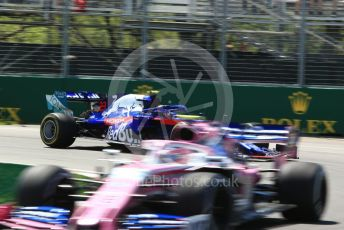 World © Octane Photographic Ltd. Formula 1 – Canadian GP. Practice 2. SportPesa Racing Point RP19 – Lance Stroll and Scuderia Toro Rosso STR14 – Alexander Albon. Circuit de Gilles Villeneuve, Montreal, Canada. Friday 7th June 2019.