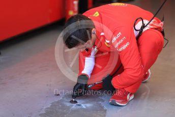 World © Octane Photographic Ltd. Formula 1 – Canadian GP. Practice 3. Scuderia Ferrari garage floor repair. Circuit de Gilles Villeneuve, Montreal, Canada. Saturday 8th June 2019.