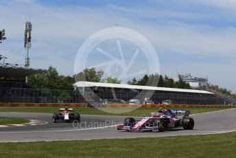 World © Octane Photographic Ltd. Formula 1 – Canadian GP. Qualifying. SportPesa Racing Point RP19 – Lance Stroll and Alfa Romeo Racing C38 – Antonio Giovinazzi. Circuit de Gilles Villeneuve, Montreal, Canada. Saturday 8th June 2019.