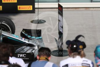 World © Octane Photographic Ltd. Formula 1 – Canadian GP. Parc Ferme. Mercedes AMG Petronas Motorsport AMG F1 W10 EQ Power+ - Lewis Hamilton's car with 2nd position board after Vettel had swithed them. Circuit de Gilles Villeneuve, Montreal, Canada. Sunday 9th June 2019.