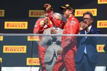 World © Octane Photographic Ltd. Formula 1 – Canadian GP. Podium. Scuderia Ferrari SF90 – Sebastian Vettel and Charles Leclerc. Circuit de Gilles Villeneuve, Montreal, Canada. Sunday 9th June 2019.