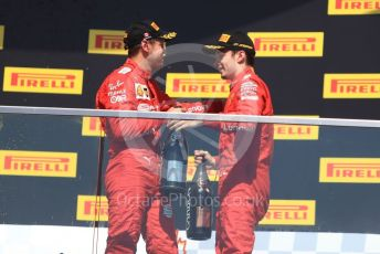 World © Octane Photographic Ltd. Formula 1 – Canadian GP. Podium. Scuderia Ferrari SF90 – Sebastian Vettel and Charles Leclerc. Circuit de Gilles Villeneuve, Montreal, Canada. Sunday 9th June 2019.