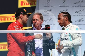 World © Octane Photographic Ltd. Formula 1 – Canadian GP. Podium. Mercedes AMG Petronas Motorsport AMG F1 W10 EQ Power+ - Lewis Hamilton and Scuderia Ferrari SF90 – Sebastian Vettel with Martin Brundle. Circuit de Gilles Villeneuve, Montreal, Canada. Sunday 9th June 2019.