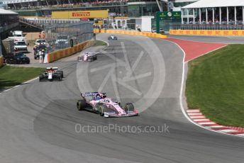 World © Octane Photographic Ltd. Formula 1 – Canadian GP. Race. SportPesa Racing Point RP19 - Sergio Perez, Alfa Romeo Racing C38 – Antonio Giovinazzi.  and Lance Stroll. Circuit de Gilles Villeneuve, Montreal, Canada. Sunday 9th June 2019.