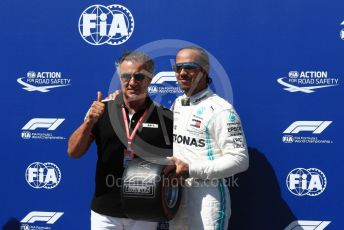 World © Octane Photographic Ltd. Formula 1 – French GP. Qualifying. Mercedes AMG Petronas Motorsport AMG F1 W10 EQ Power+ - Lewis Hamilton receives the Pirelli Pole Position Award from the Pirelli Representative, former Formula 1 driver Jean Alesi. Paul Ricard Circuit, La Castellet, France. Saturday 22nd June 2019.