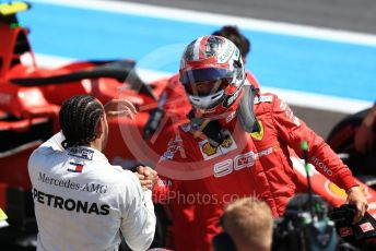 World © Octane Photographic Ltd. Formula 1 – French GP. Qualifying. Mercedes AMG Petronas Motorsport AMG F1 W10 EQ Power+ - Lewis Hamilton and Scuderia Ferrari SF90 – Charles Leclerc. Paul Ricard Circuit, La Castellet, France. Saturday 22nd June 2019.