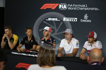 World © Octane Photographic Ltd. Formula 1 – French GP. FIA Drivers Press Conference. Alfa Romeo Racing – Antonio Giovinazzi, McLaren – Carlos Sainz, Rich Energy Haas F1 Team – Romain Grosjean, Aston Martin Red Bull Racing – Pierre Gasly and Renault Sport F1 Team – Nico Hulkenberg. Paul Ricard Circuit, La Castellet, France. Thursday 20th June 2019.