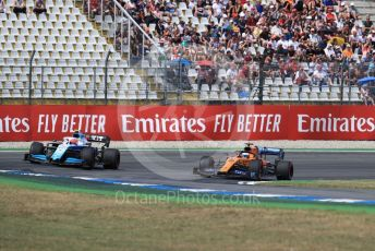 World © Octane Photographic Ltd. Formula 1 – German GP - Qualifying. ROKiT Williams Racing FW42 – Robert Kubica and McLaren MCL34 – Carlos Sainz. Hockenheimring, Hockenheim, Germany. Saturday 27th July 2019.