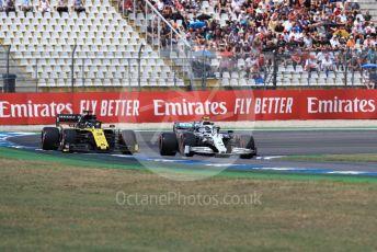 World © Octane Photographic Ltd. Formula 1 – German GP - Qualifying. Mercedes AMG Petronas Motorsport AMG F1 W10 EQ Power+ - Valtteri Bottas with Renault Sport F1 Team RS19 – Daniel Ricciardo. Hockenheimring, Hockenheim, Germany. Saturday 27th July 2019.