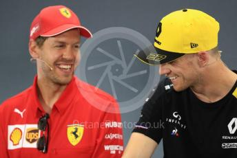 World © Octane Photographic Ltd. Formula 1 – German GP. FIA Drivers Press Conference. Scuderia Ferrari SF90 – Sebastian Vette and Renault Sport F1 Team – Nico Hulkenbergl. Hockenheimring, Hockenheim, Germany. Thursday 25th July 2019.