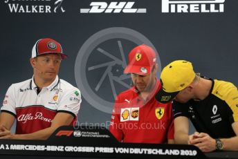 World © Octane Photographic Ltd. Formula 1 – German GP. FIA Drivers Press Conference. Scuderia Ferrari SF90 – Sebastian Vettel,  Alfa Romeo Racing – Kimi Raikkonen and Renault Sport F1 Team – Nico Hulkenberg. Hockenheimring, Hockenheim, Germany. Thursday 25th July 2019.