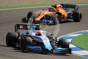 World © Octane Photographic Ltd. Formula 1 – German GP - Practice 1. McLaren MCL34 – Lando Norris and ROKiT Williams Racing FW42 – Robert Kubica. Hockenheimring, Hockenheim, Germany. Friday 26th July 2019.