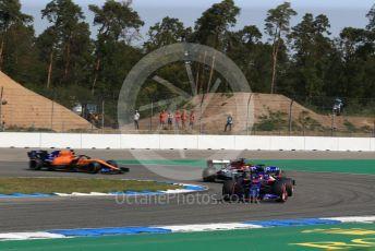 World © Octane Photographic Ltd. Formula 1 – German GP - Practice 1. Scuderia Toro Rosso STR14 – Daniil Kvyat, Alfa Romeo Racing C38 – Kimi Raikkonen and McLaren MCL34 – Lando Norris. Hockenheimring, Hockenheim, Germany. Friday 26th July 2019.