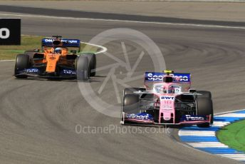 World © Octane Photographic Ltd. Formula 1 – German GP - Practice 2. SportPesa Racing Point RP19 – Lance Stroll and McLaren MCL34 – Carlos Sainz. Hockenheimring, Hockenheim, Germany. Friday 26th July 2019.