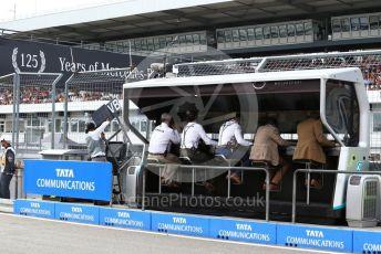 World © Octane Photographic Ltd. Formula 1 – German GP - Practice 3. Mercedes AMG Petronas Motorsport retro uniforms on the pitwall. Hockenheimring, Hockenheim, Germany. Saturday 27th July 2019.