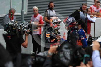 World © Octane Photographic Ltd. Formula 1 – German GP - Parc Ferme. Aston Martin Red Bull Racing RB15 – Max Verstappen and Scuderia Toro Rosso STR14 – Daniil Kvyat. Hockenheimring, Hockenheim, Germany. Sunday 28th July 2019.