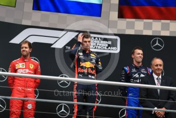World © Octane Photographic Ltd. Formula 1 – German GP - Podium. Aston Martin Red Bull Racing RB15 – Max Verstappen, Scuderia Ferrari SF90 – Sebastian Vettel and Scuderia Toro Rosso STR14 – Daniil Kvyat. Hockenheimring, Hockenheim, Germany. Sunday 28th July 2019.