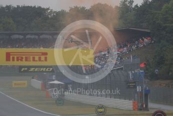 World © Octane Photographic Ltd. Formula 1 – German GP - Race. Max Verstappen fans letting off orange smoke flares. Hockenheimring, Hockenheim, Germany. Sunday 28th July 2019.