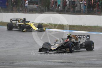 World © Octane Photographic Ltd. Formula 1 – German GP - Race. Rich Energy Haas F1 Team VF19 – Kevin Magnussen and Renault Sport F1 Team RS19 – Daniel Ricciardo. Hockenheimring, Hockenheim, Germany. Sunday 28th July 2019.