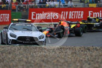 World © Octane Photographic Ltd. Formula 1 – German GP - Race. Mercedes AMG GTs Safety car ahead of Aston Martin Red Bull Racing RB15 – Max Verstappen and Renault Sport F1 Team RS19 – Nico Hulkenberg. Hockenheimring, Hockenheim, Germany. Sunday 28th July 2019.